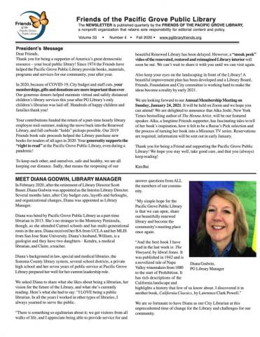 Fall 2020 Newsletter first page