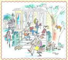 """Life in the Grove"" sketch by Keith Larson"