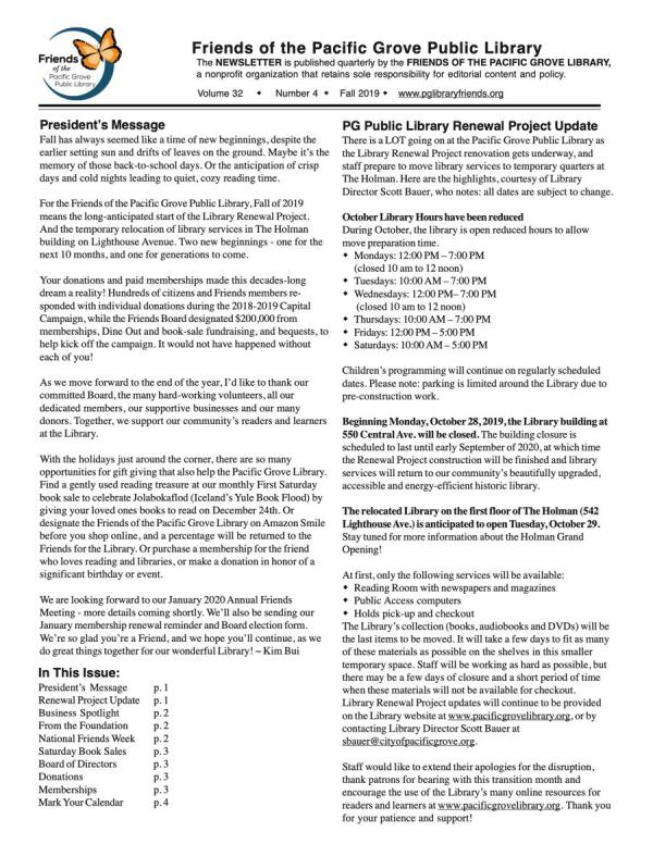 Fall 2019 Newsletter first page