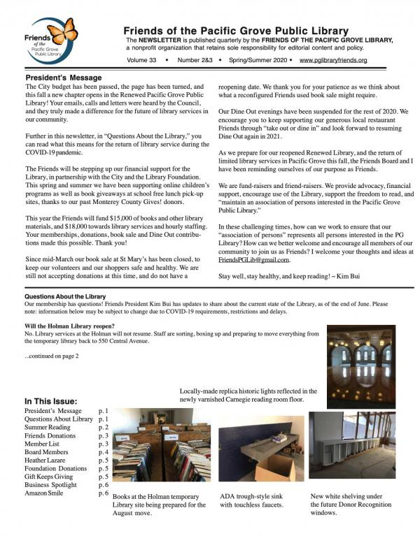Spring-Summer Newsletter Page 1