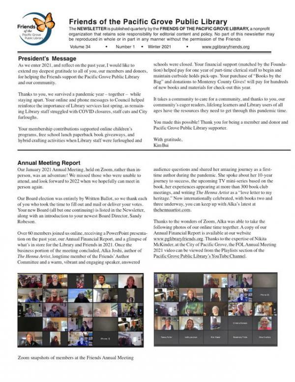 2021 Winter Newsletter